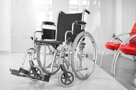 Empty modern wheelchair in hospital