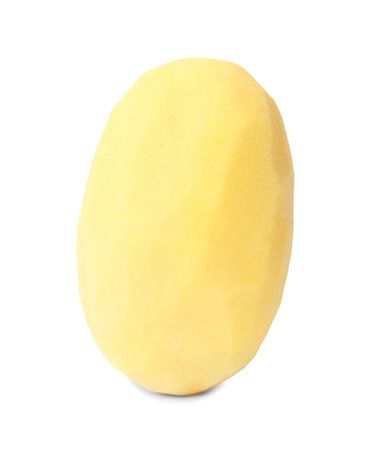 Raw peeled potato on white background