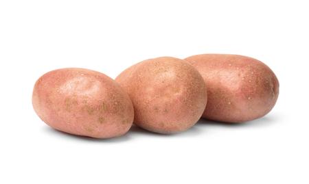 Fresh raw potatoes on white background