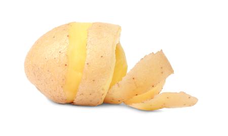 Raw peeled potato with skin on white background Stok Fotoğraf