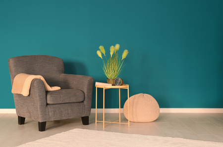 Trendy armchair with table near shaded spruce wall Stockfoto