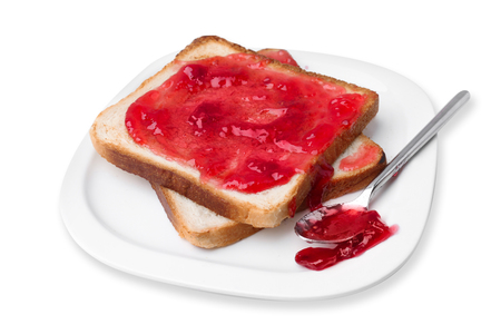 Delicious toast with sweet jam on plate, isolated on white