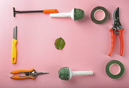 Florist equipment on color background Stock Photo