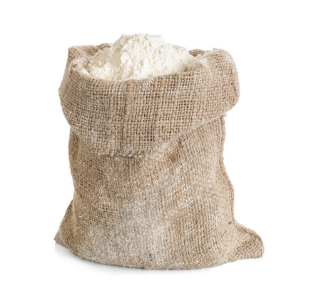 Bag with flour on white background