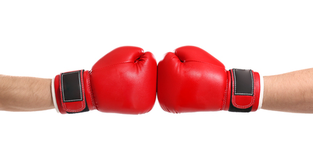 Men in boxing gloves on white background Banque d'images - 112778710