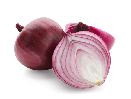 Ripe red onions on white background