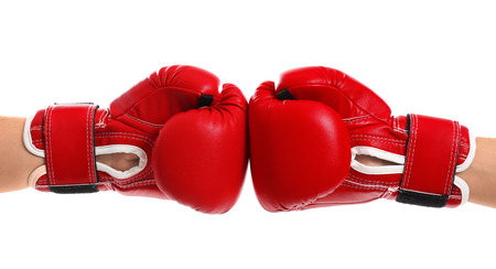 Men in boxing gloves on white background Banque d'images