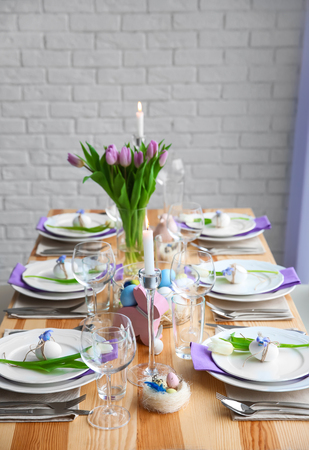 Beautiful Easter table setting with decorations