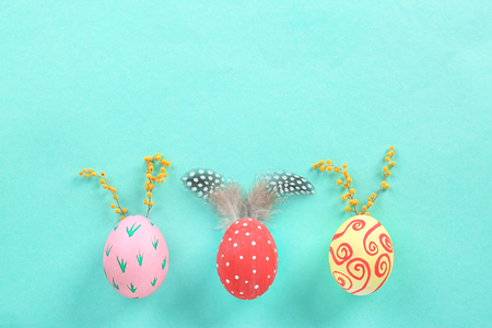 Decorated Easter eggs on color background Zdjęcie Seryjne