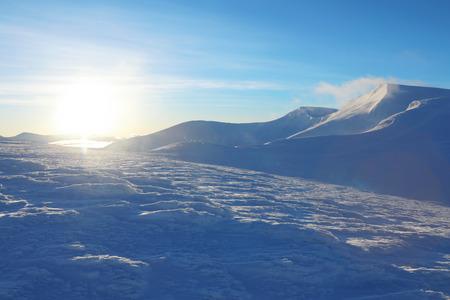 Beautiful snowy mountains on winter day Stok Fotoğraf