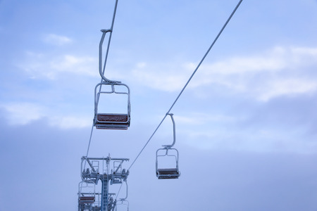Ski lift on winter day