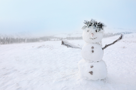 Snowman on frosty day. Winter vacation