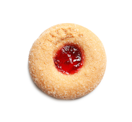 Traditional Christmas Linzer cookie with jam on white background