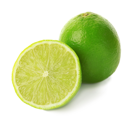 Tasty ripe limes on white background Фото со стока