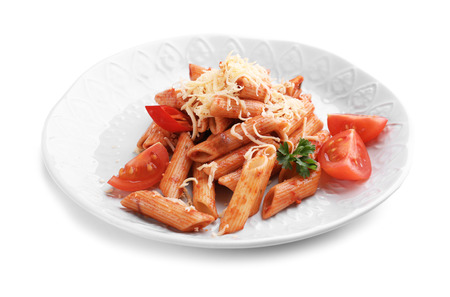 Plate of tasty penne pasta with tomato sauce on white background