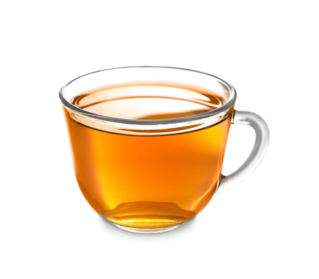 Cup with delicious tea on white background