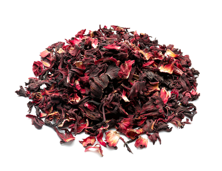 Heap of dry hibiscus tea on white background