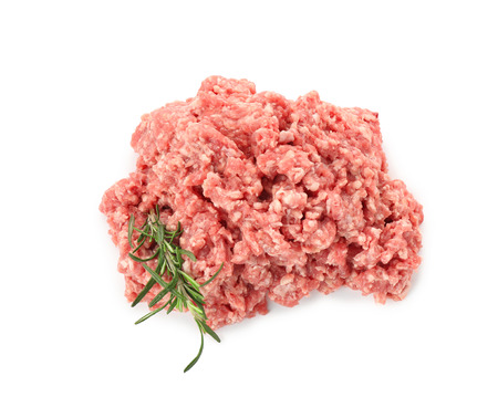 Raw minced meat on white background. Fresh meat products