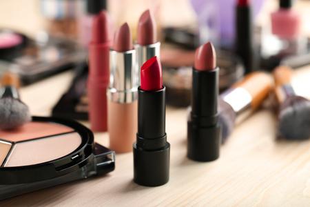 Professional cosmetics on table, closeup