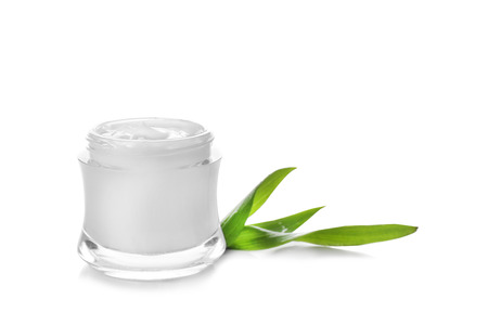 Jar of cream with herbal extract on white background Stok Fotoğraf