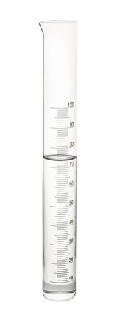 Graduated cylinder with water on white background