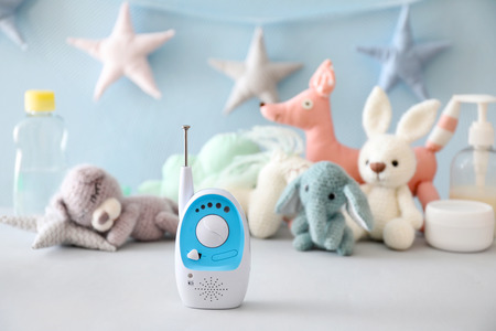 Baby monitor on table Imagens