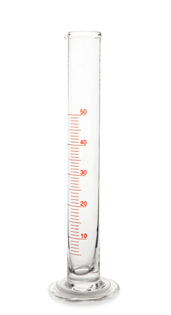 Graduated cylinder on white background