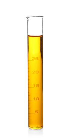 Test tube with color sample on white background Stock Photo