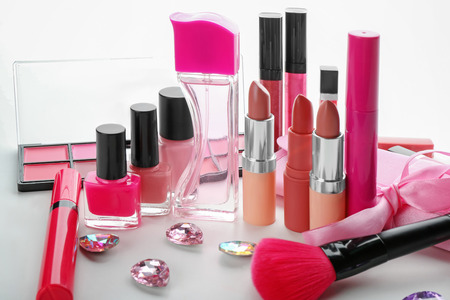 Set of cosmetic products on white background