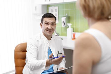 Woman visiting orthopedist in hospital