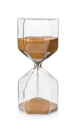 Hourglass on white background. Time management concept Stockfoto