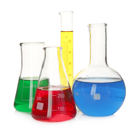 Test flasks with color samples on white background Stock Photo