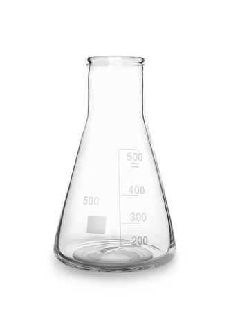 Conical flask on white background Stock Photo