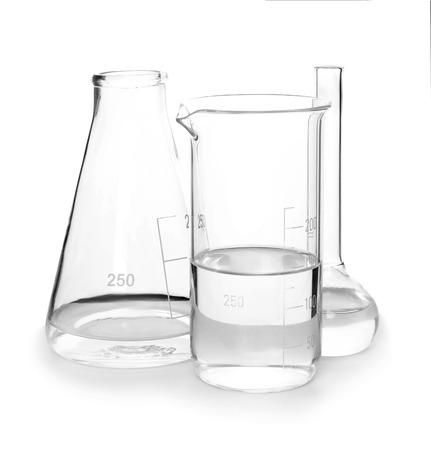 Different laboratory glassware on white background Stockfoto