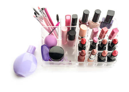 Set of professional cosmetics on white background 免版税图像