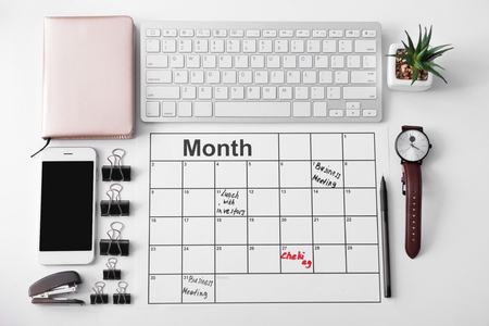 Composition of calendar with to-do list and computer keyboard on white background