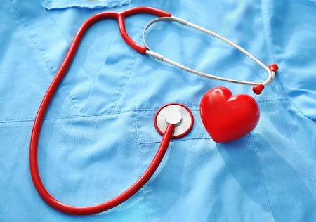 Stethoscope on blue doctors uniform