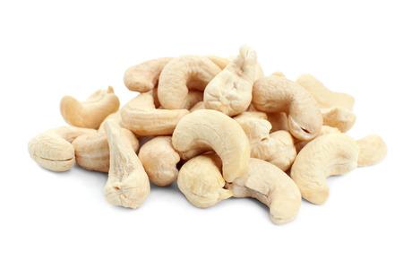 Tasty cashew nuts on white background Stock fotó
