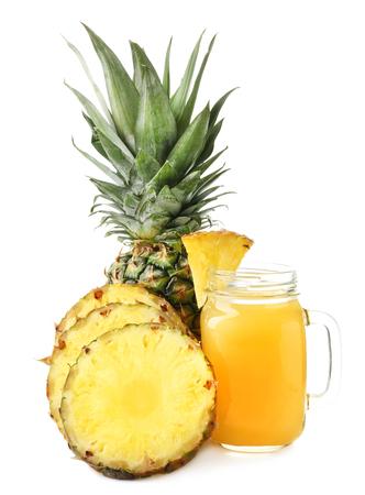 Mason jar of sweet pineapple juice on white background 写真素材