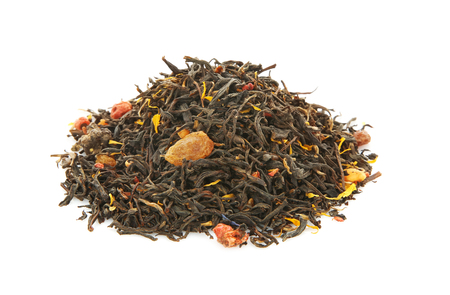 Pile of dry tea on white background Imagens