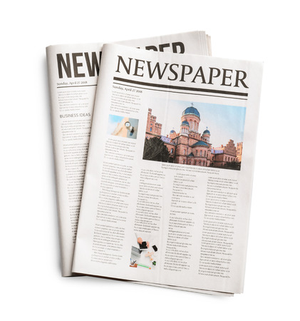 Newspapers on white background