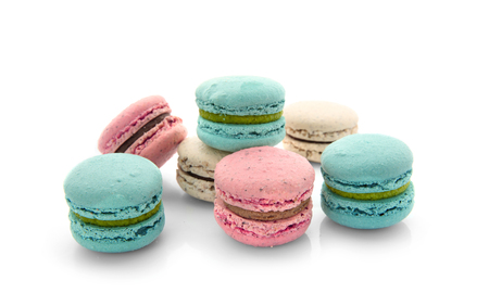 Tasty macarons on white background 版權商用圖片