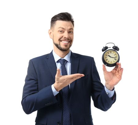 Businessman with alarm clock on white background. Time management concept