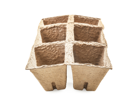 Peat pots kit for gardening on white background