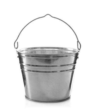 Metal bucket for gardening on white background