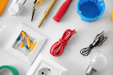 Electrician's supplies on white background Reklamní fotografie