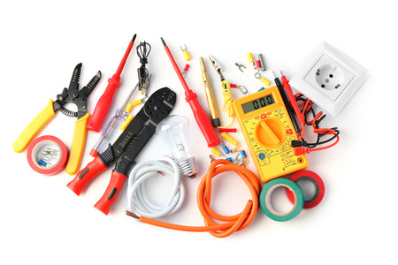 Electrician's supplies on white background Stock Photo