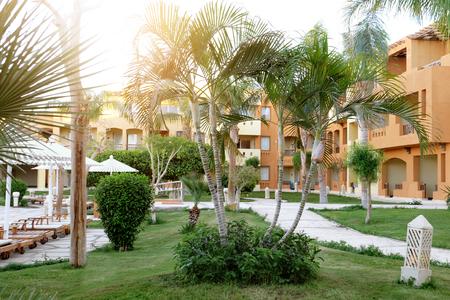 Beautiful view of garden in hotel at resort 写真素材