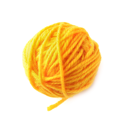 Ball of knitting yarn on white background