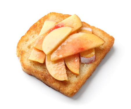 Delicious toast with pear on white background 免版税图像